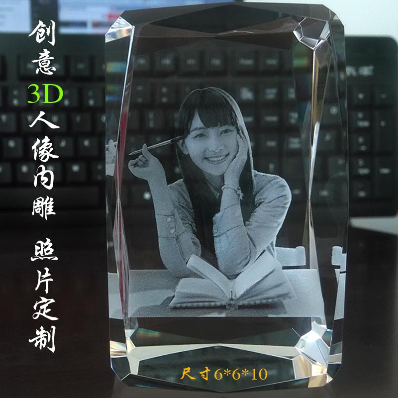3D личность кристалл резьба портрет так лист сделанный на заказ трехмерный портрет творческий украшение семейный портрет свадьба фестиваль подарок