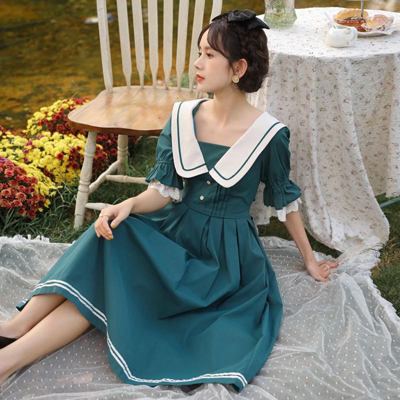 朴伊赫本风茶歇法式炸街气质海军领连衣裙纯欲风公主裙女夏收腰裙