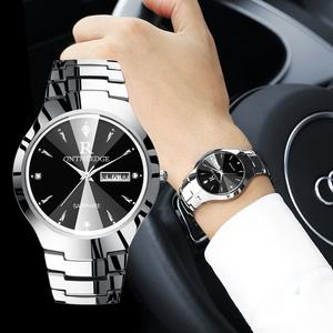 正品钨钢男士手表男表石英女表防水商务超薄女士手表情侣学生腕表