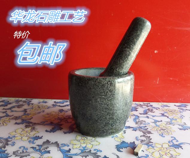 精致新款天然青石石臼家用中號12CM壓搗蒜器搗藥罐搗碎辣椒擂缽