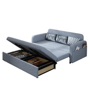 儲物摺疊沙發牀兩用1.5米 小户型網紅款客廳出租房布藝可睡覺的牀