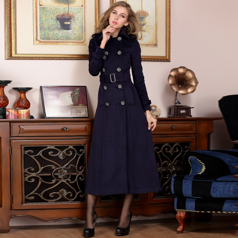 Autumn and winter 2020 new womens wool double row button long slim genuine cashmere overcoat