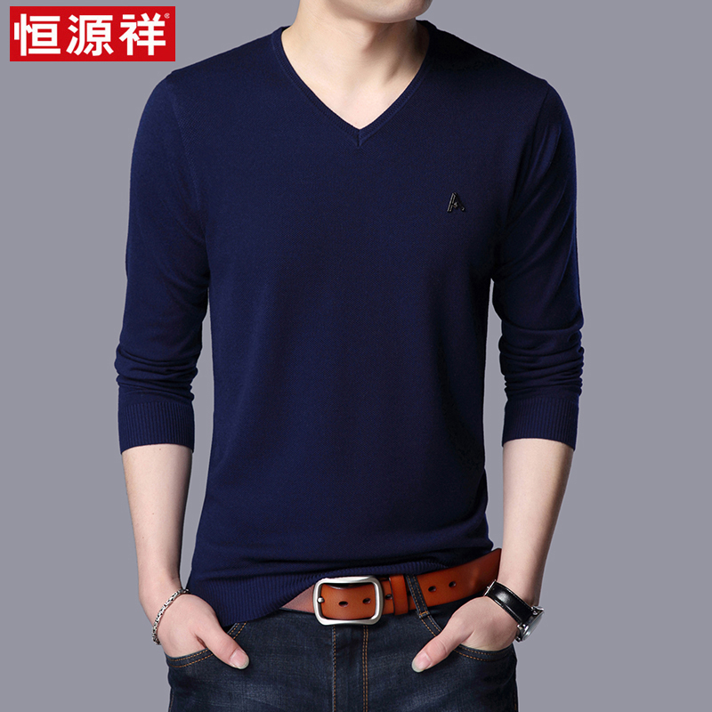 Hengyuanxiang spring and autumn young mens heart neck sweater sweater V-Neck long sleeve T-shirt thin bottomed sweater fashion
