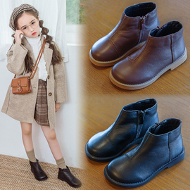 女童马丁靴2020年新款英伦风儿童真皮鞋子秋季冬加绒靴子公主短靴