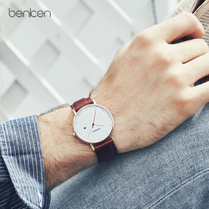 benken超薄男士手表男学生潮流真皮带时尚男表防水石英表男式手表