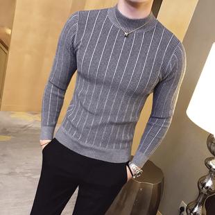 秋冬半高领纹路打底衫 针织毛衣时尚 潮修身 地平线男装 简约款 9色