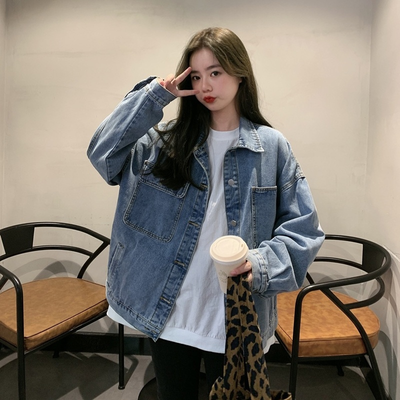 Denim jacket jacket for women from Europe early autumn blue retro girl metal button shows gausen sleeves shirt collar feeling