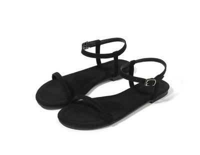夏季欧美新款凉鞋女黑色一字细带平底学生简约露趾平跟女鞋hm2020