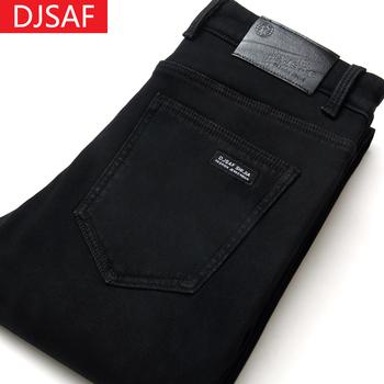 夏季男士修身纯黑色直筒弹力牛仔裤