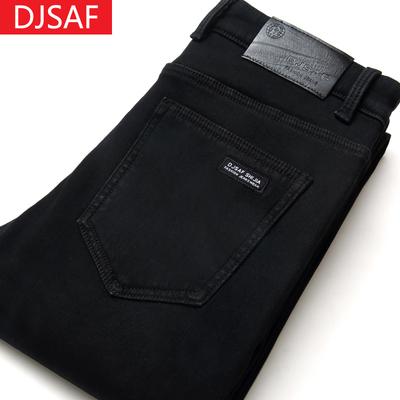 夏季男士修身纯黑色牛仔裤男直筒高弹力夏天薄款休闲男式宽松长裤