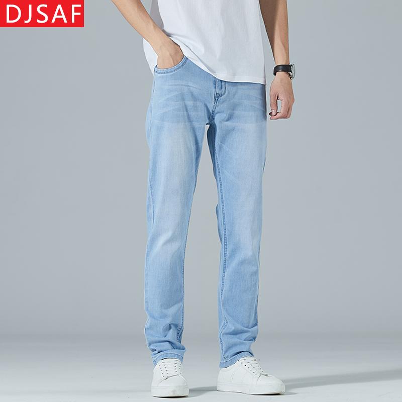 新款春夏季薄款男士浅色修身牛仔裤男直筒弹性白色牛子裤夏天长裤