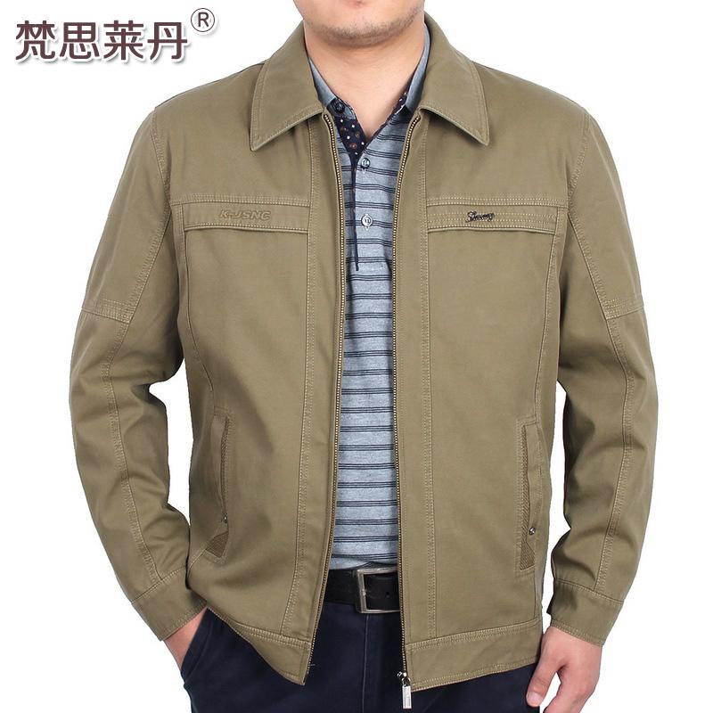 春秋季中年男装爸爸秋冬外套加绒加厚中老年人翻领薄款纯棉夹克衫
