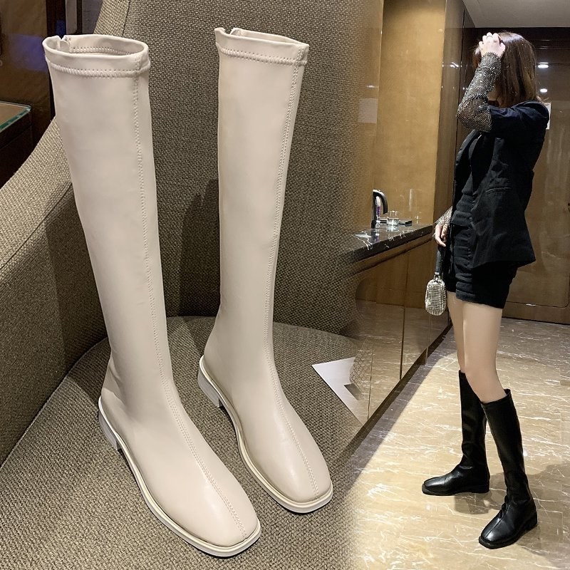 Knee length boots female small middle boots thick heel white long boots chivalrous high boots spring and autumn single boots