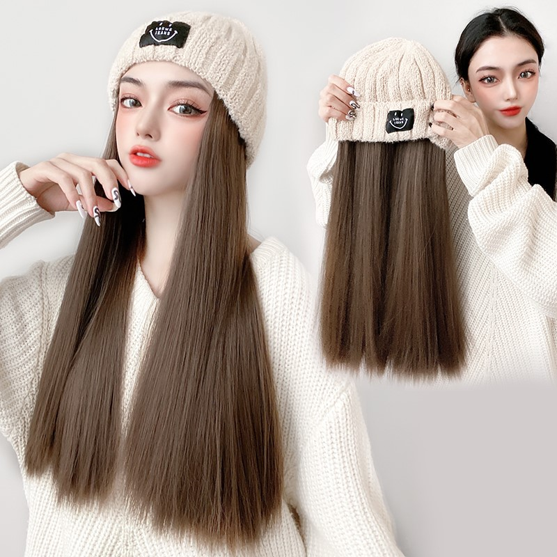 Wig and hat in one womens detachable fashion autumn and winter fashion new long straight hair net red band hair knitted hat