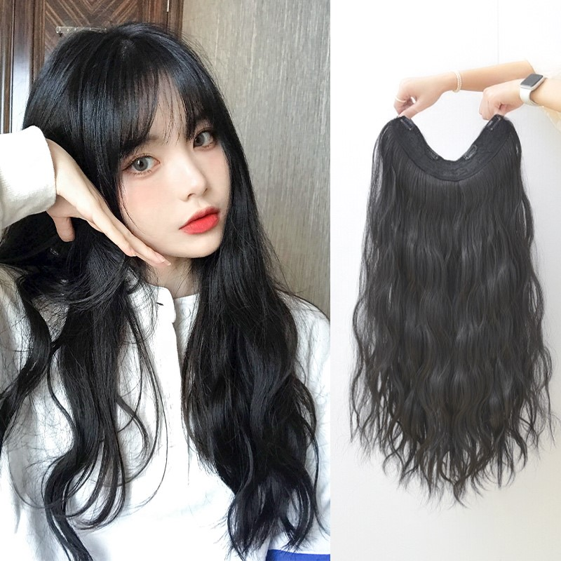 Wig piece one piece female long hair long curly hair U-shaped additional hair quantity hair patch invisible traceless fluffy simulation