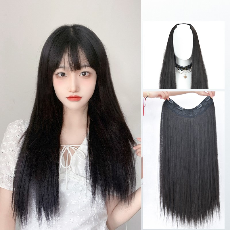 Wig piece one piece traceless long hair for women with additional hair volume