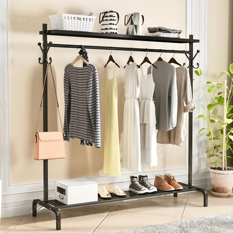 室内晾衣架落地折叠卧室挂衣架简易单杆凉晒衣服架子多功能晾衣杆