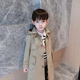 男童中长款连帽风衣中大童纯棉外套小童秋韩版儿童2020新款英伦风