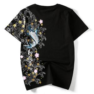 夏季日系潮牌中国风鲤鱼民族风刺绣个性宽松大码短袖t恤衫男纯棉