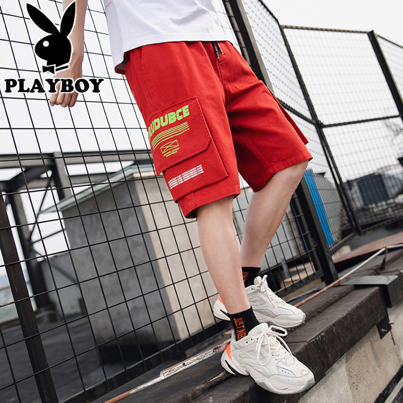 Playboy shorts mens new summer 2020 overalls Multi Pocket students loose and versatile five point casual pants