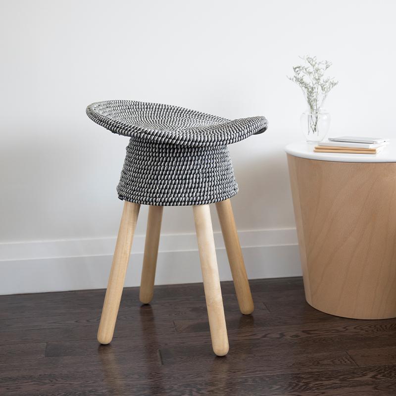 加拿大umbra编织藤椅吧台椅家用凳