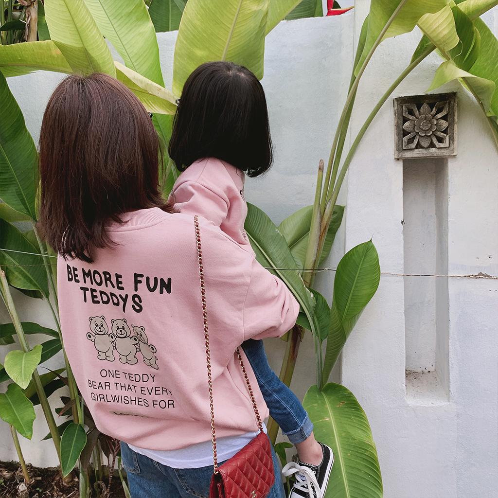 史豌豆亲子装韩版洋气女童卫衣可爱小熊印花宝宝百搭休闲打底衫