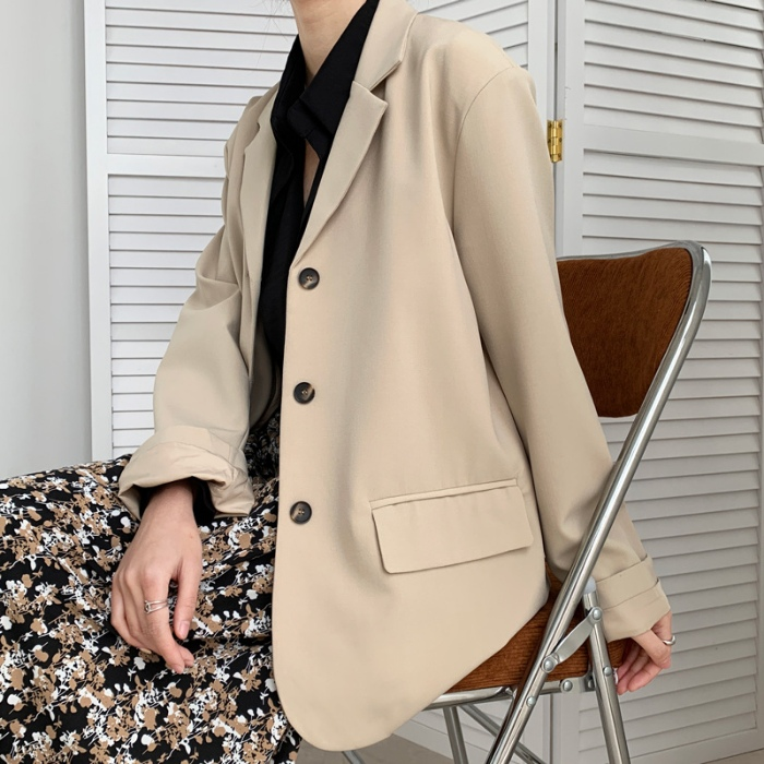 British style Blazer spring 2021 solid color womens single breasted loose Hong Kong Style Korean suit collar slim fit coat