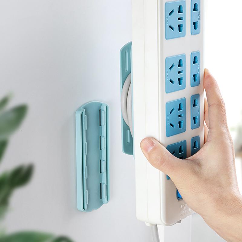 排插固定器壁挂墙上贴路由器收纳免钉免打孔插线座多功能收理线器