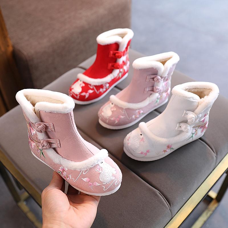 冬款女童汉服鞋子儿童中国风加绒绣花鞋防滑软底雪地靴老北京布鞋