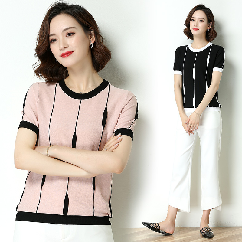 黑白条纹短袖冰丝针织T恤女夏季新款气质简约百搭圆领针织上衣薄