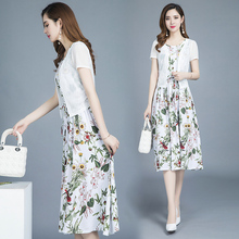 Suit Two-piece Dress Female Summer 2019 New Popular Female 30140 Cotton Madame Madame Chiffon Skirt