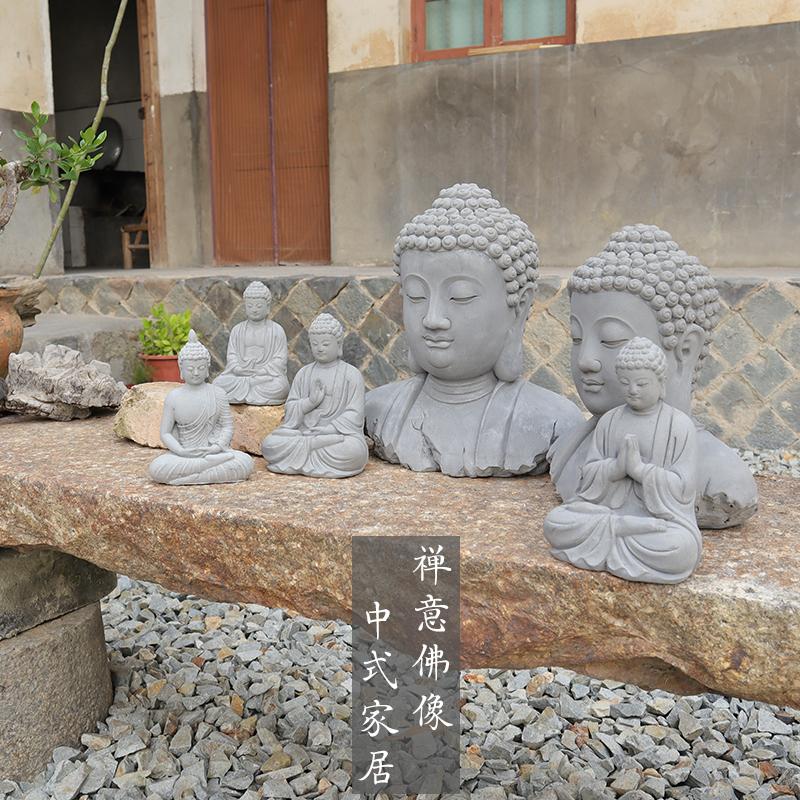 新中式禅意水泥佛像摆件如来佛祖家居客厅庭院玄关祝福布景装饰品