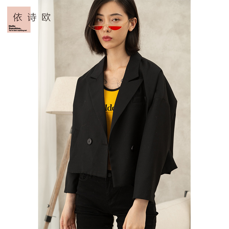 Small suit womens spring and summer 2020 new womens dress double breasted short fashionable loose casual black long sleeve coat