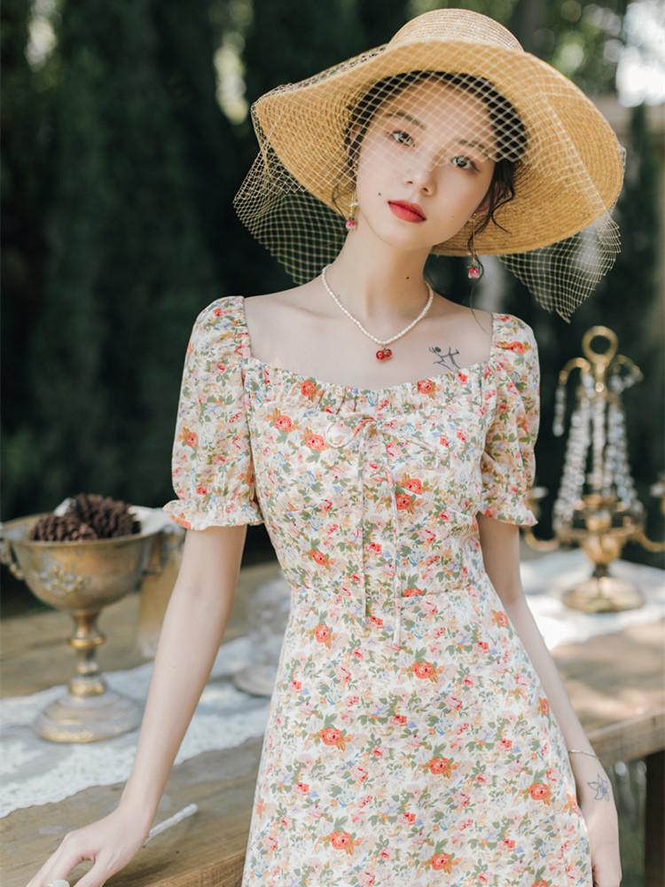 低俗小説 你还好吗 复古法式方领雪纺短袖蝴蝶结系带碎花仙女裙