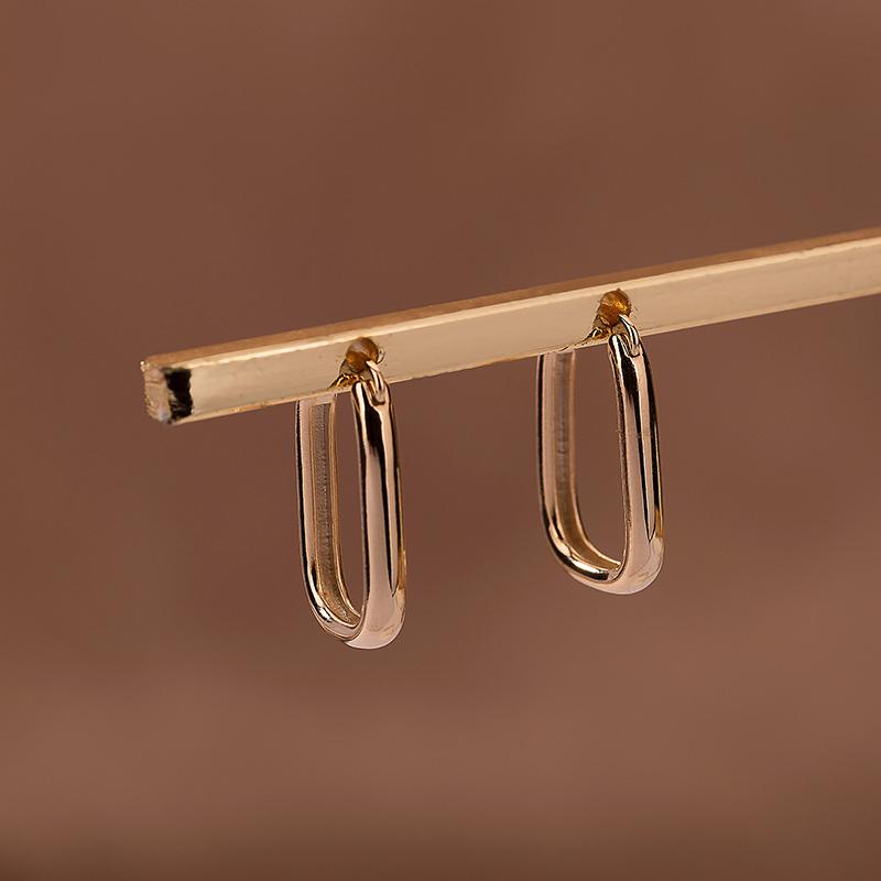 2020新款欧美椭圆形18K包金耳环时尚百搭极简气质法式冷淡风耳饰