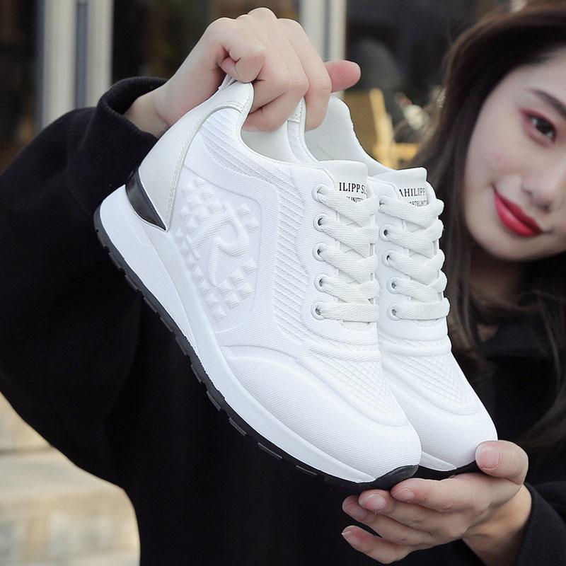 内增高小白鞋女夏季透气薄款2020新款百搭网红运动休闲老爹鞋单鞋