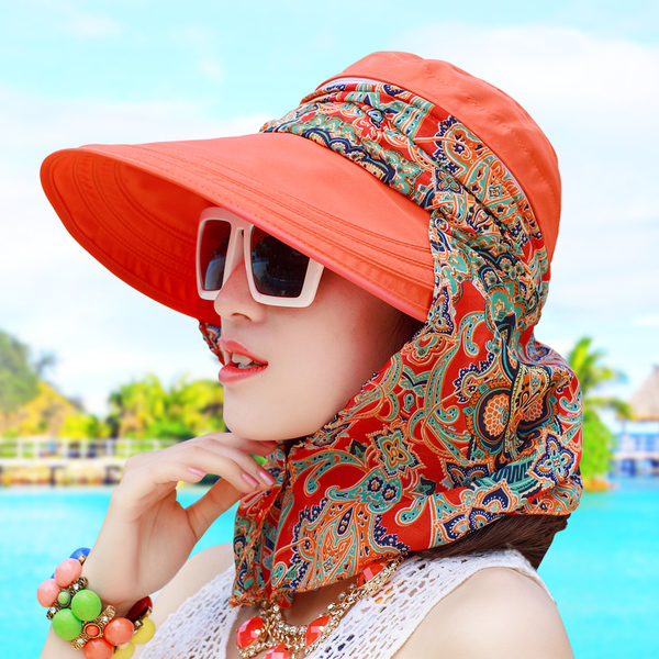 Summer sun hat female cycling cap outdoor folding beach sun hat female summer large brimmed summer hat covering her face