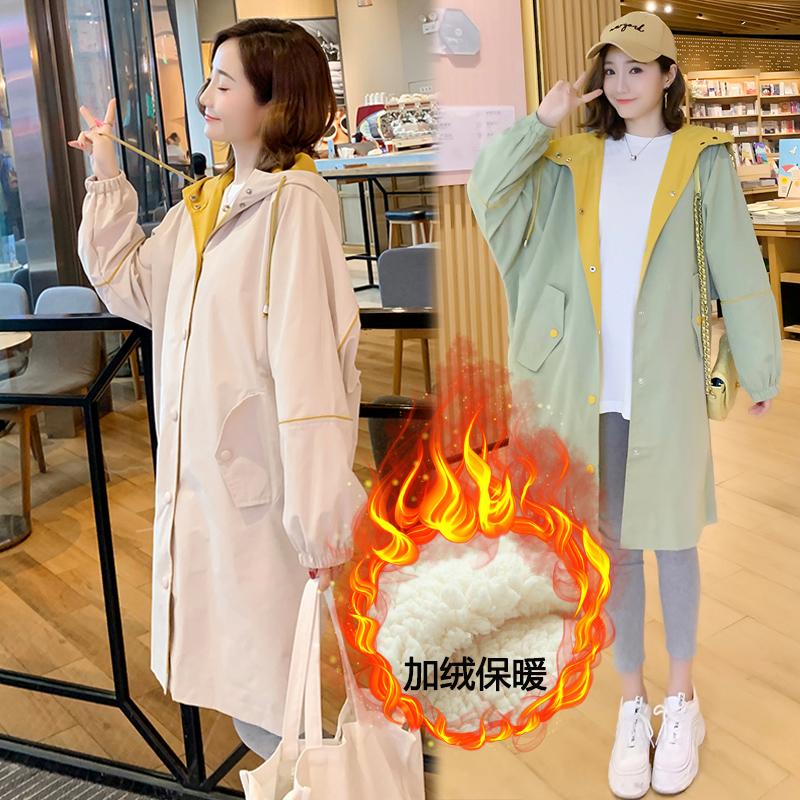 孕妇风衣中长款2019冬季新款加厚保暖上衣加绒棉服宽松秋冬款外套