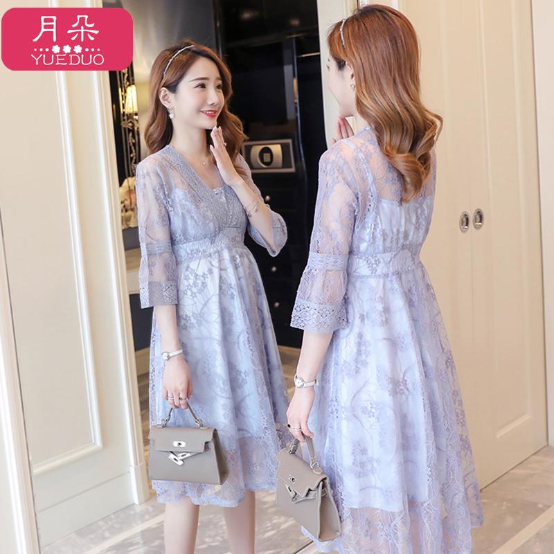 孕妇夏装连衣裙时尚款2020新款潮妈蕾丝孕妇裙显瘦中长款仙女裙子图片