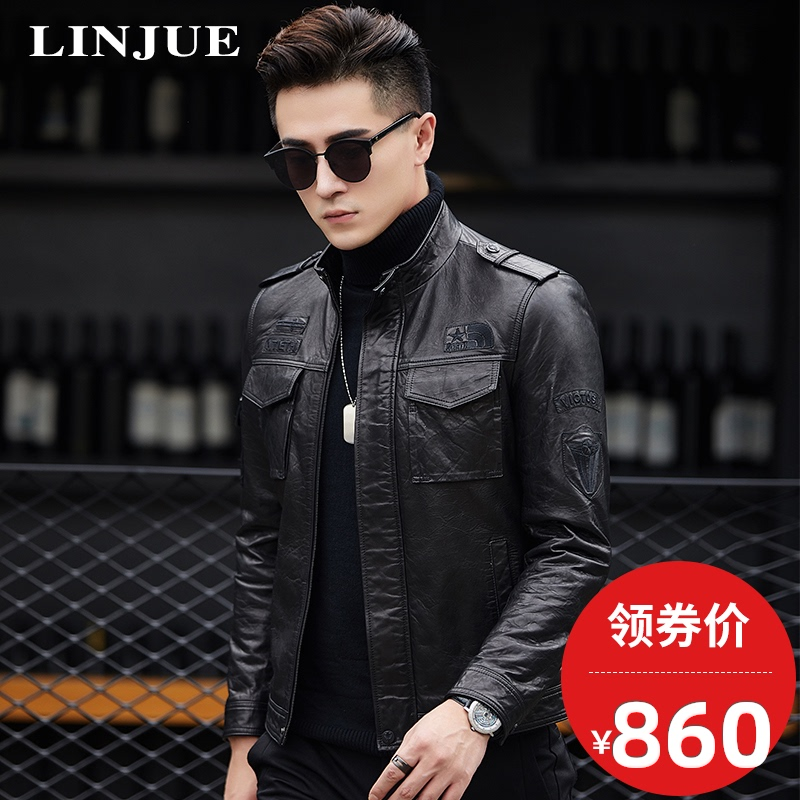 Haining leather leather men's youth sheepskin motorcycle clothing leather jacket Slim vegetable tanned leather jacket stand collar short