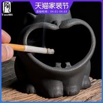 陶迷创意可爱卡通猫烟灰缸陶瓷家用车载防飞灰防风简约个姓大烟缸