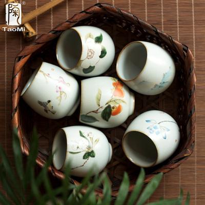 陶迷月白汝窑茶杯家用开片可养陶瓷品茗杯复古主人品茗杯茶盏建盏