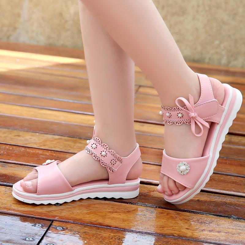 女童凉鞋夏季公主鞋韩版2019新款小女孩软底中大童真皮儿童学生鞋