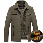 纯棉中老年男翻领薄款 40外套50岁爷爷装 中年男士 春秋季 爸爸夹克衫