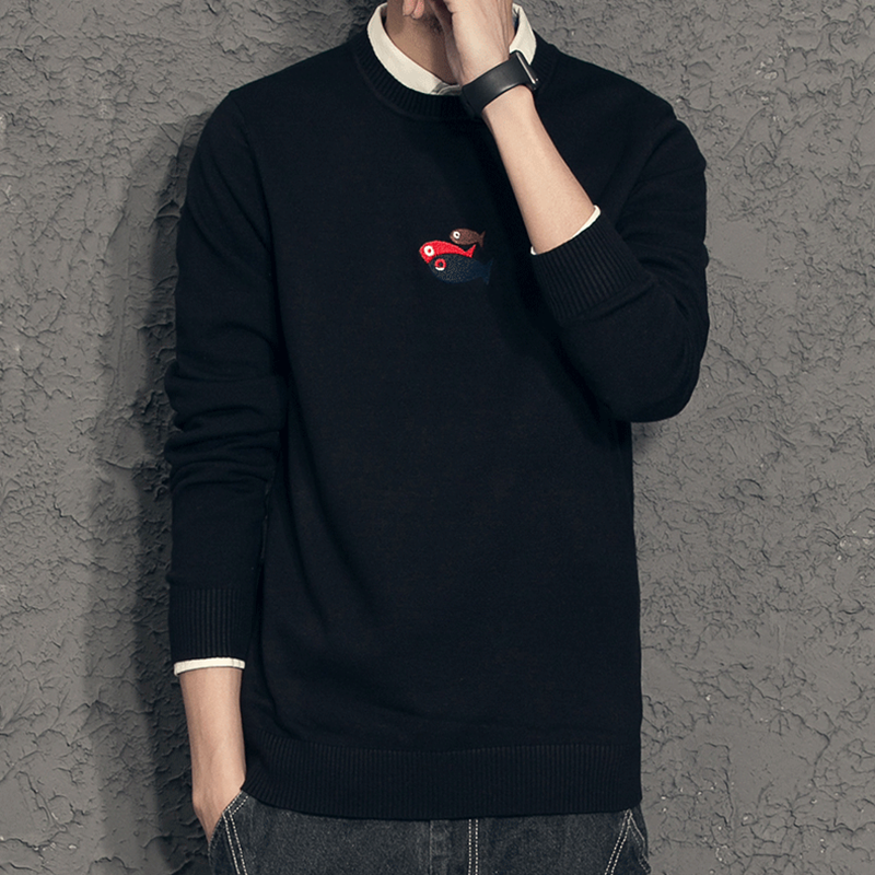 Autumn new mens T-shirt small fish embroidery fake two sweaters mens Korean Slim Fit Shirt Collar