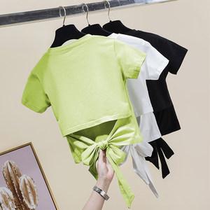 牛油果绿色短袖t恤女2020春夏新蝴蝶结绑带小众心机漏腰露背上衣
