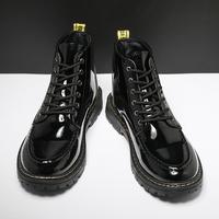 查看春季黑色马丁靴男鞋英伦高帮工装厚底机车作战男靴休闲大头皮靴价格