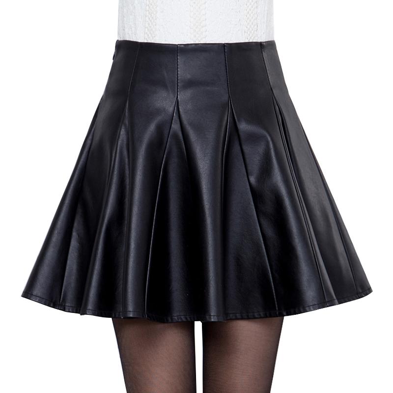 Leather skirt skirt womens new fall / winter 2019 high waist large size Pu shows thin temperament small A-line short pleated skirt