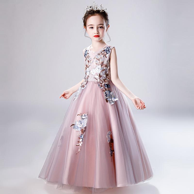 儿童礼服女裙子夏款洋气女童公主裙夏高端蓬蓬纱长裙连衣裙夏装