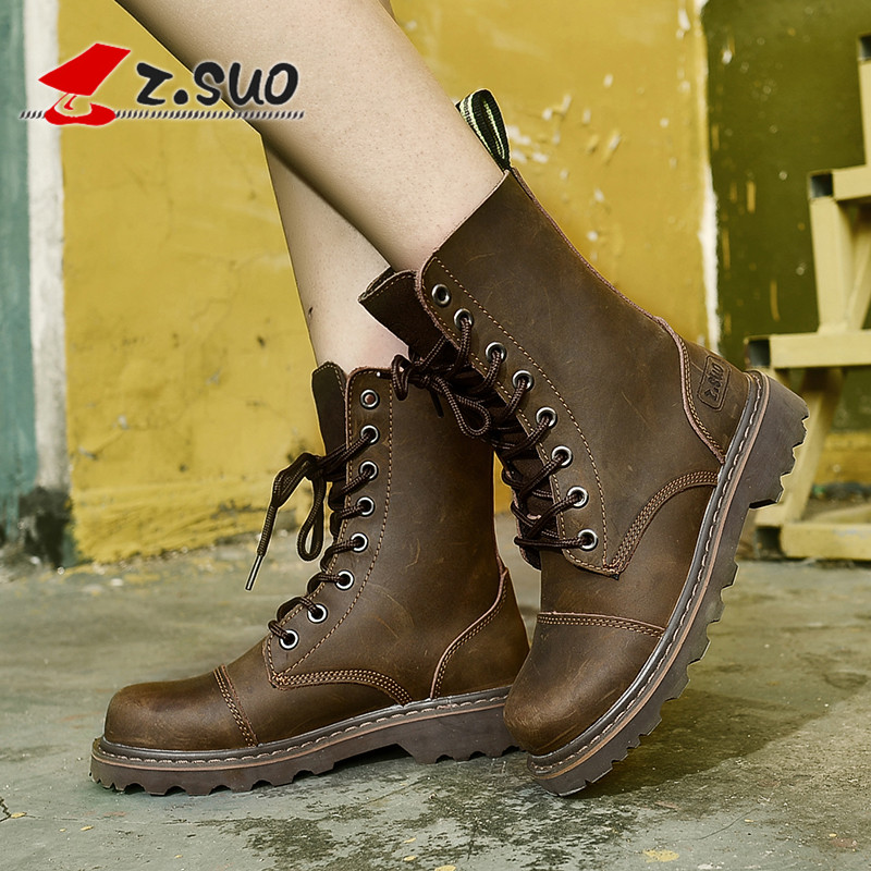 Leather high top outdoor boots women climbing shoes hiking shoes anti slip wear leather Martin boots women British trend